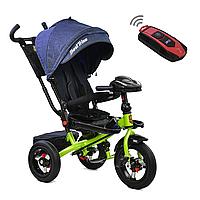 Велосипед 3-колесный с родительской ручкой и пультом Best Trike Синий, салатовая рама, 360° СИДЕНИЕ 6088F-1780