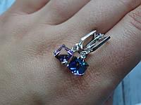 Хит!!!Серебряные серьги с  камнями Swarovski, кристаллы Сваровски, фото 1