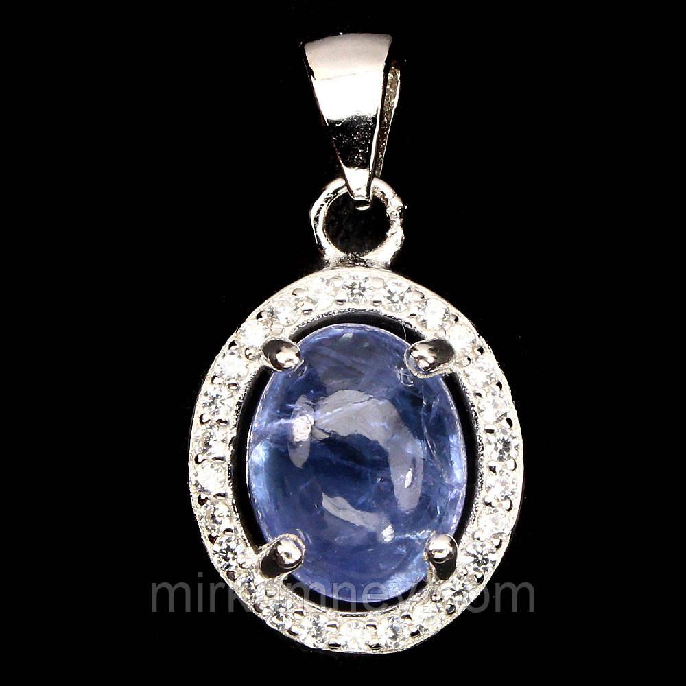 Кулон 100% натуральный природный камень Танзанит. Серебро 925, позолота 14 карат
