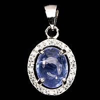 Кулон 100% натуральный природный камень Танзанит. Серебро 925, позолота 14 карат, фото 1