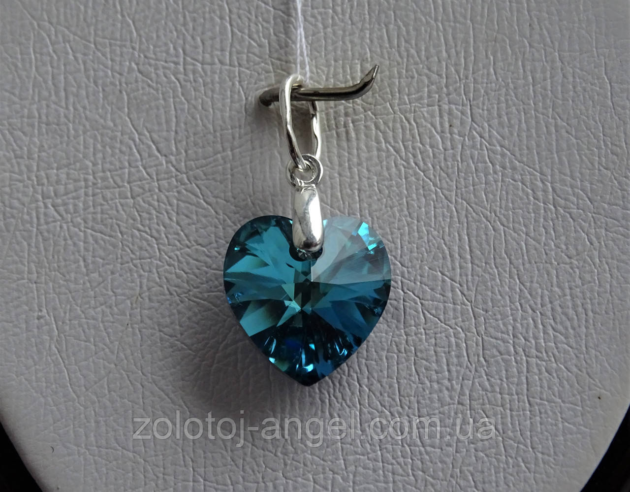 Хит!!!Серебряный кулон с  камнями Swarovski, кристаллы Сваровски ,Сердце океана,синее Сердце титаник,