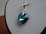 Хит!!!Серебряный кулон с  камнями Swarovski, кристаллы Сваровски ,Сердце океана,синее Сердце титаник, , фото 3