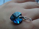 Хит!!!Серебряный кулон с  камнями Swarovski, кристаллы Сваровски ,Сердце океана,синее Сердце титаник, , фото 4