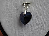 Хит!!!Серебряный кулон с  камнями Swarovski, кристаллы Сваровски ,Сердце океана,синее Сердце титаник, , фото 6