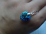 Хит!!!Серебряный кулон с  камнями Swarovski, кристаллы Сваровски ,Сердце океана,синее Сердце титаник, , фото 8