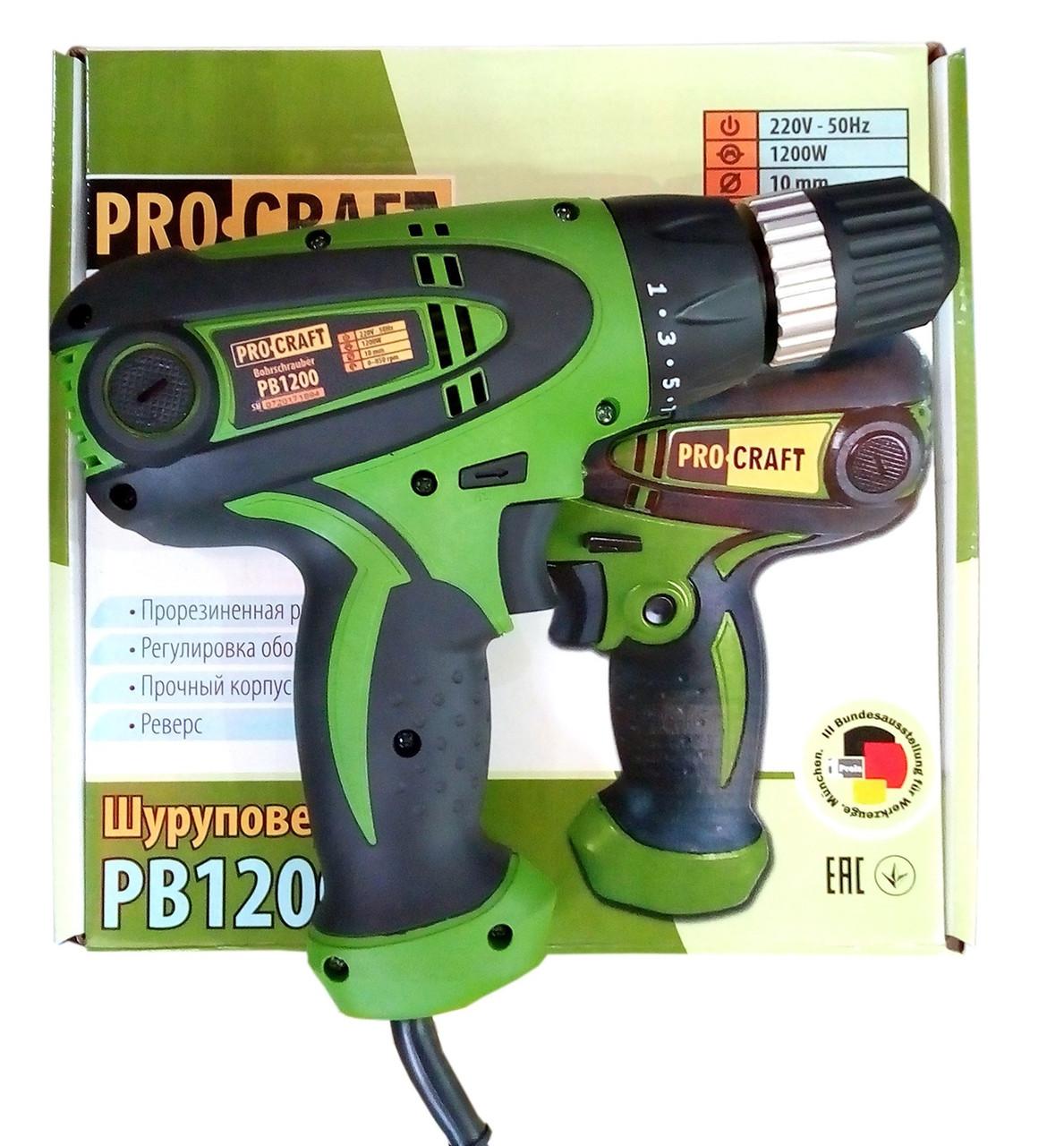 Шуруповерт сетевой ProCraft PB-1200. Шуруповерт ПРОКрафт