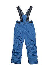 Штани на підтяжках зимові для хлопчика від 6 до 9 років сині
