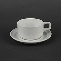 Чашка с блюдцем белая 280 мл (HR1328), чашка чайная для ресторана, фото 1