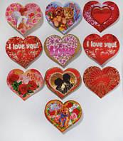 """Подарунковий набір №12 міні-листівок-сердечок """"I Love you"""" і """"Тварини"""" (10 шт/уп) на двосторонньому скотчі"""