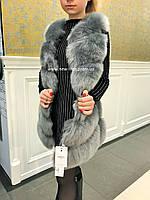 Шуба, жилетка меховая Эрика искусственный эко - мех лисы  L, XL, фото 1