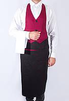 Фартук - жилет официанта комбинированный, красный с черным из  спецткани, индивидуальный пошив, все размеры