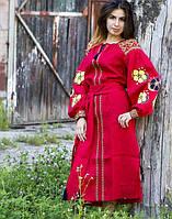 """Сукня жіноча """"Барвінок"""" вишита на льоні колір червоний, фото 1"""