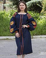 """Сукня жіноча """"Барвінок"""" вишита на льоні колір синій, фото 1"""