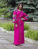 "Сукня жіноча ""Барвінок"" вишита на льоні колір малиновий, фото 1"