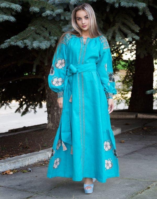 """Сукня жіноча """"Барвінок"""" вишита на льоні розмір 50 Бірюзовий, 52"""