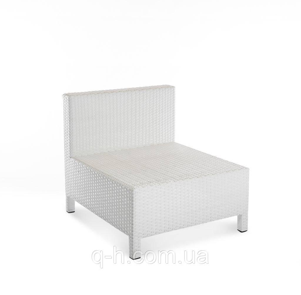 Прямой элемент плетеного дивана Egypt из искусственного ротанга 70x80x70 см белый