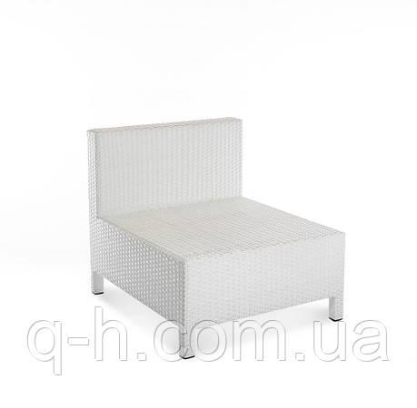 Прямой элемент плетеного дивана Egypt из искусственного ротанга 70x80x70 см белый, фото 2