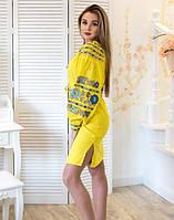 """Сукня вишита """"Борщівські барви"""" на льоні жовта, фото 1"""