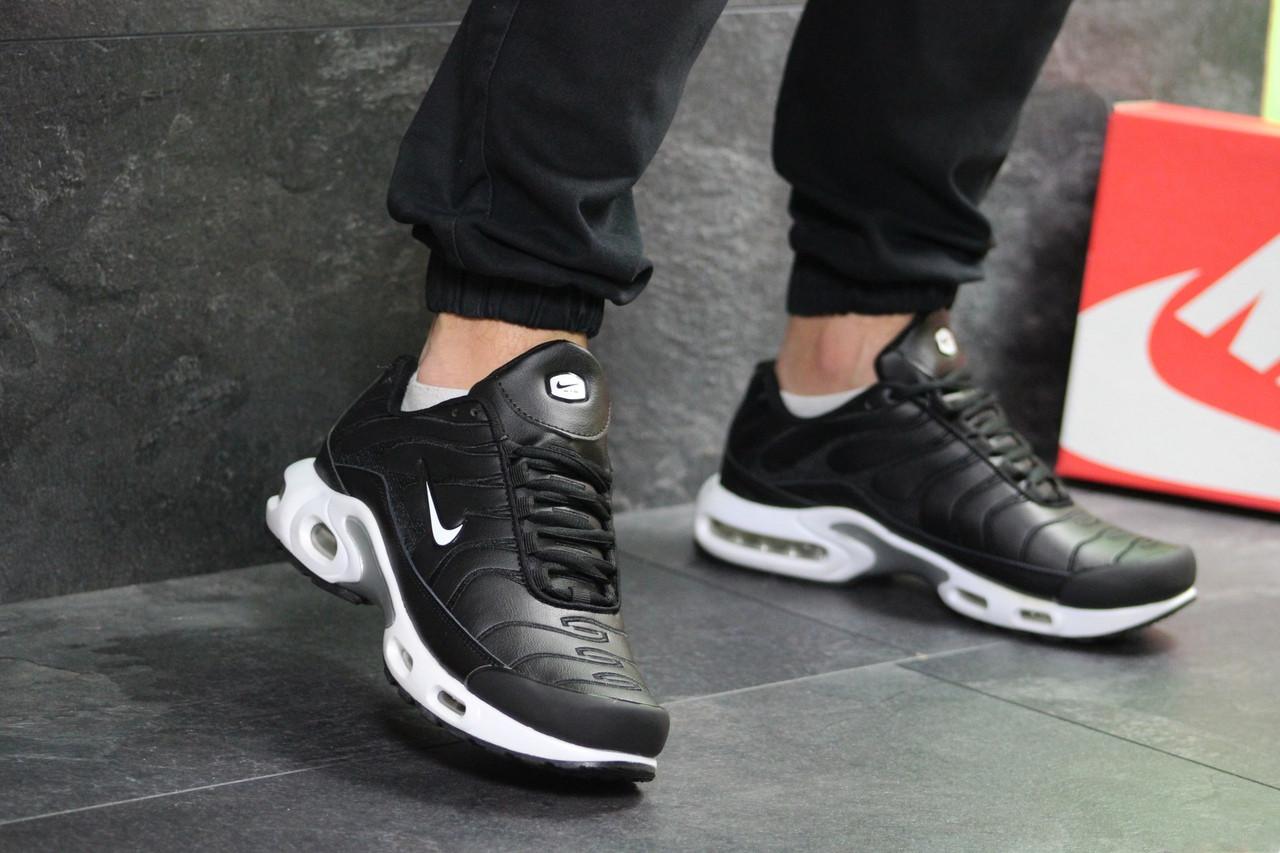 Кроссовки найк аир макс тн черно-белые кожаные демисезонные (реплика) Nike Air Max TN Black White Leather