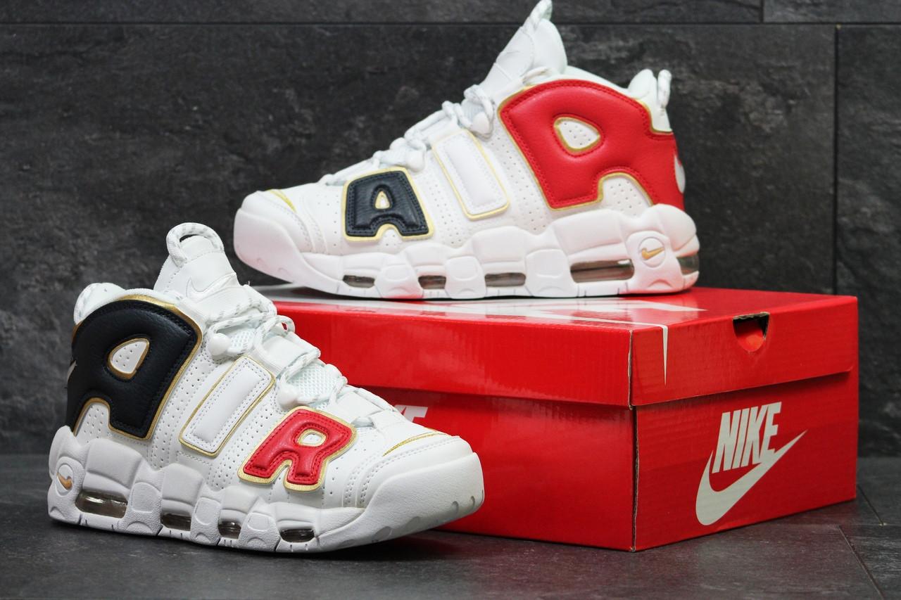 Кроссовки найк аптемпо мужские белые кожаные (реплика) Nike Air More Uptempo White Gold