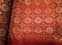 """Тканина церковна """"Візантія"""" ( комбі) червона з золотим шовком 1,65м"""