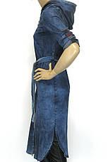 Джинсовий жіночий плащ з капюшоном, фото 2