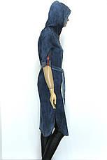 Джинсовий жіночий плащ з капюшоном, фото 3