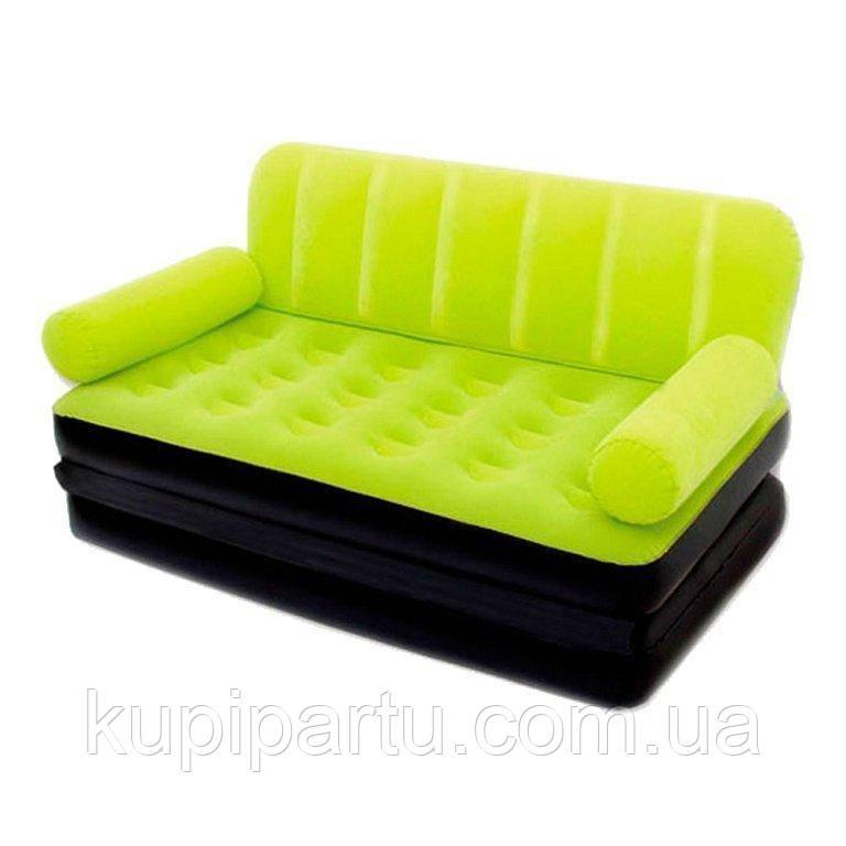 Надувной диван Bestway 67356G, 188 х 152 х 64 см с электрическим насосом.Диван трансформер 2 в 1, зеленый