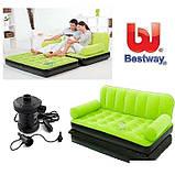Надувной диван Bestway 67356G, 188 х 152 х 64 см с электрическим насосом.Диван трансформер 2 в 1, зеленый   , фото 3