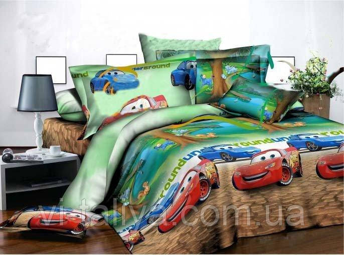Полуторный  комплект постельного белья  с машинками для мальчиков  Тачки, фото 1