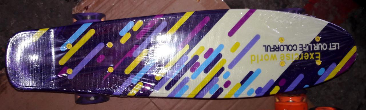 Скейт пениборд Best Board, доска-55см, колёса PU, светятся, d-6см