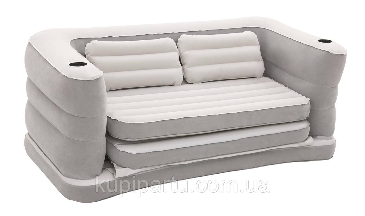 Надувной диван Bestway 75063, 160 х 201 х 64 см. Флокированный диван трансформер 2 в 1