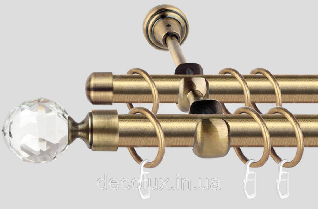 Карниз для штор двухрядный металлический 25мм,  Кристалл