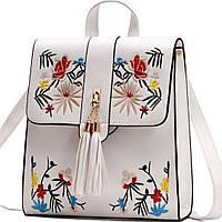 Рюкзак белый с разноцветной вышивкой. Школьный красивый рюкзак для стильной девушки