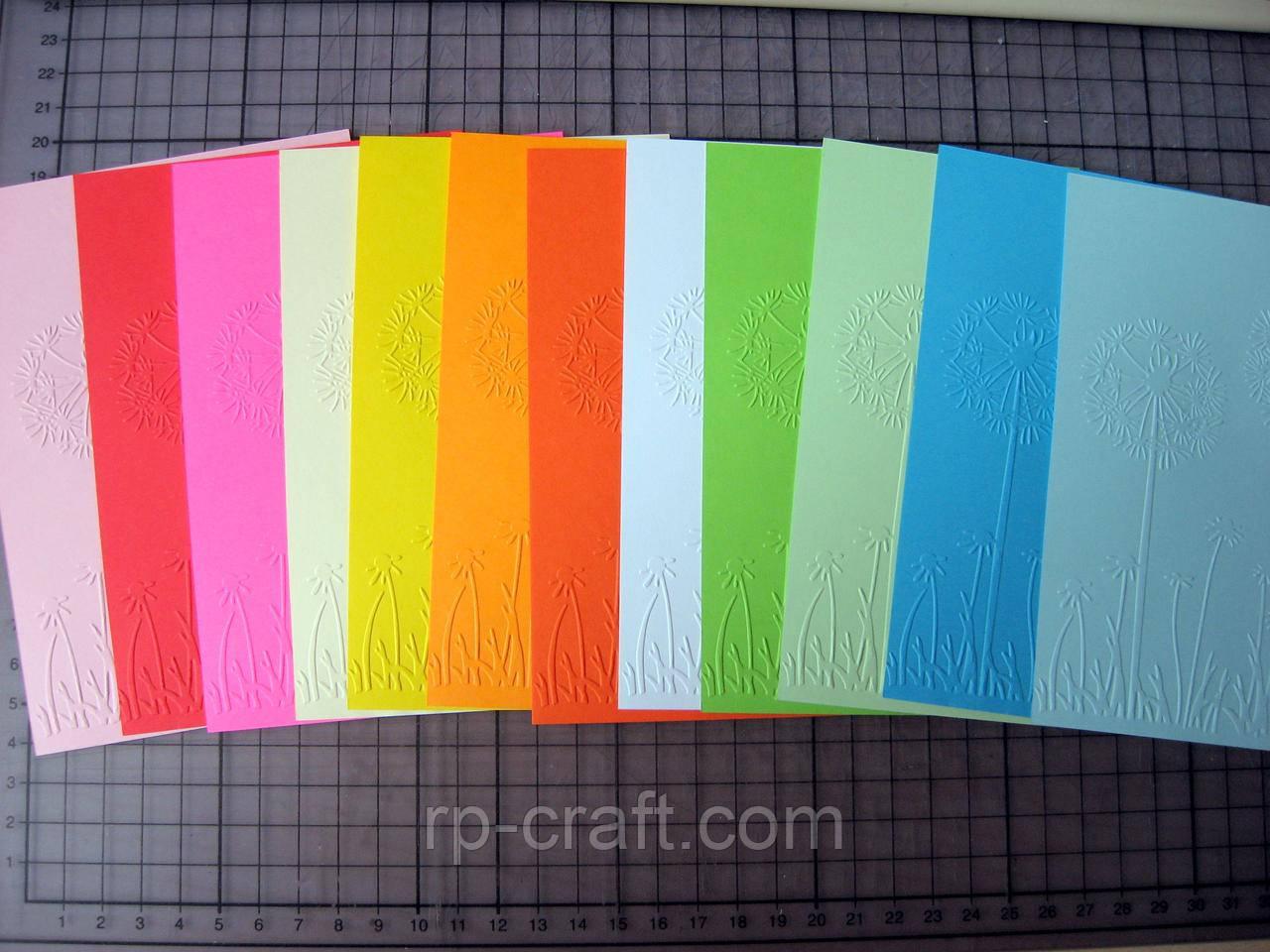 Тиснення на картоні, папері. Кульбабки, 106х150 мм