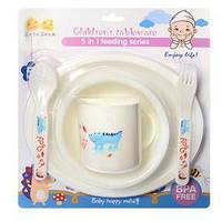Посуда детская пластик 5пр/наб (2 тарелки, чашка, вилка, ложка) R83620