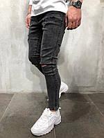 Чоловічі джинси з дірками на колінах рвані джинси темно сірі завужені, фото 1
