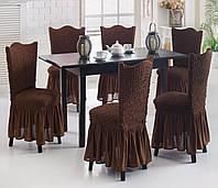 Натяжной чехол на стул с оборкой Разные цвета