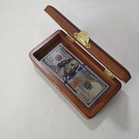 Подарунок – сувенір «Різьблена шкатулка 100 $» 105х200х54 мм