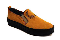 Слипоны мокасины желтые нубук женская обувь больших размеров Sei stupenda BS Yellow Nub by Rosso Avangard