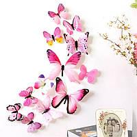 Розовые 3D бабочки на стену, мебель, для декора штор (17643)