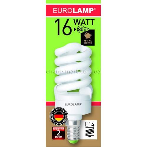 Лампа энергосберегающая EUROLAMP 16w 2700K  E14 1+1  промо-набір