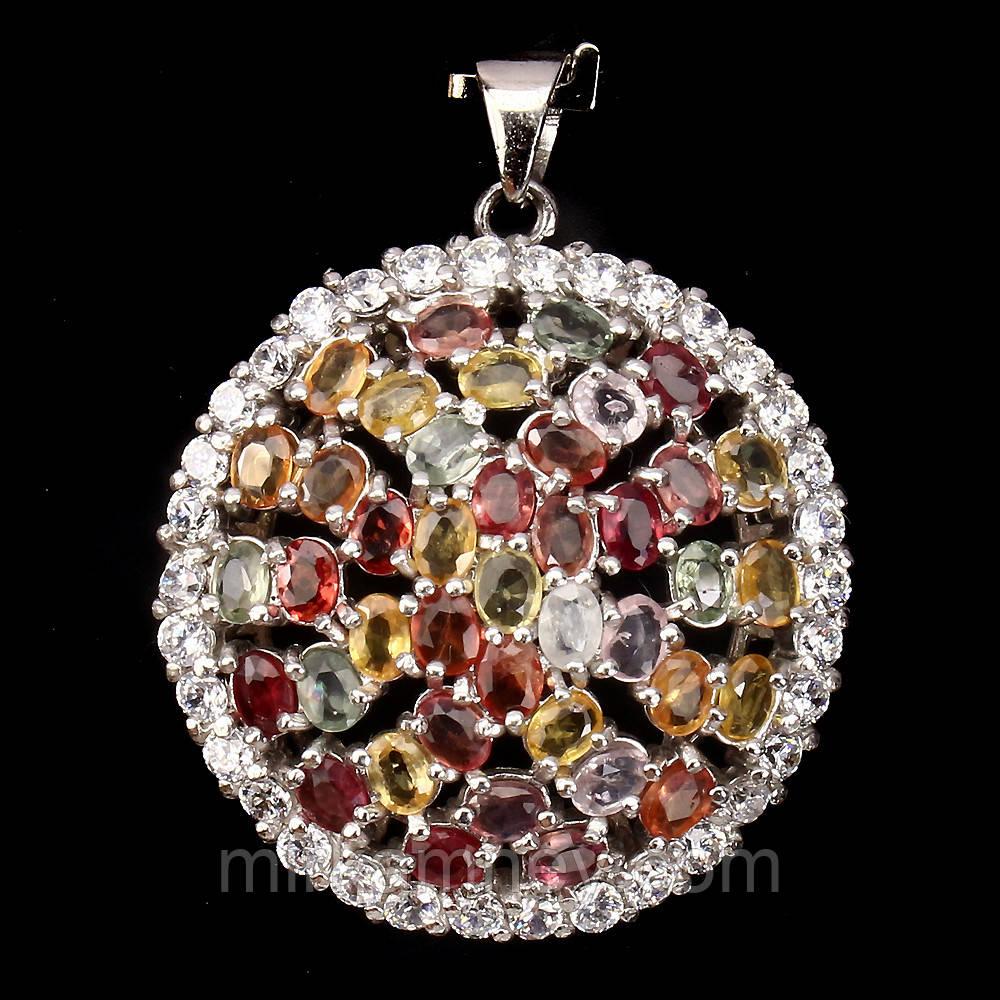 Кулон Цветные Сапфиры (натуральный сапфир). Серебро 925, позолота 14 карат