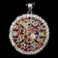 Кулон Цветные Сапфиры (натуральный сапфир). Серебро 925, позолота 14 карат, фото 1