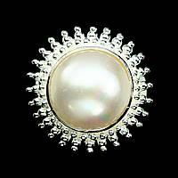 Кольцо натуральный крупный Жемчуг. Размер 20. Серебро 925, покрытое золотом 14 карат, фото 1