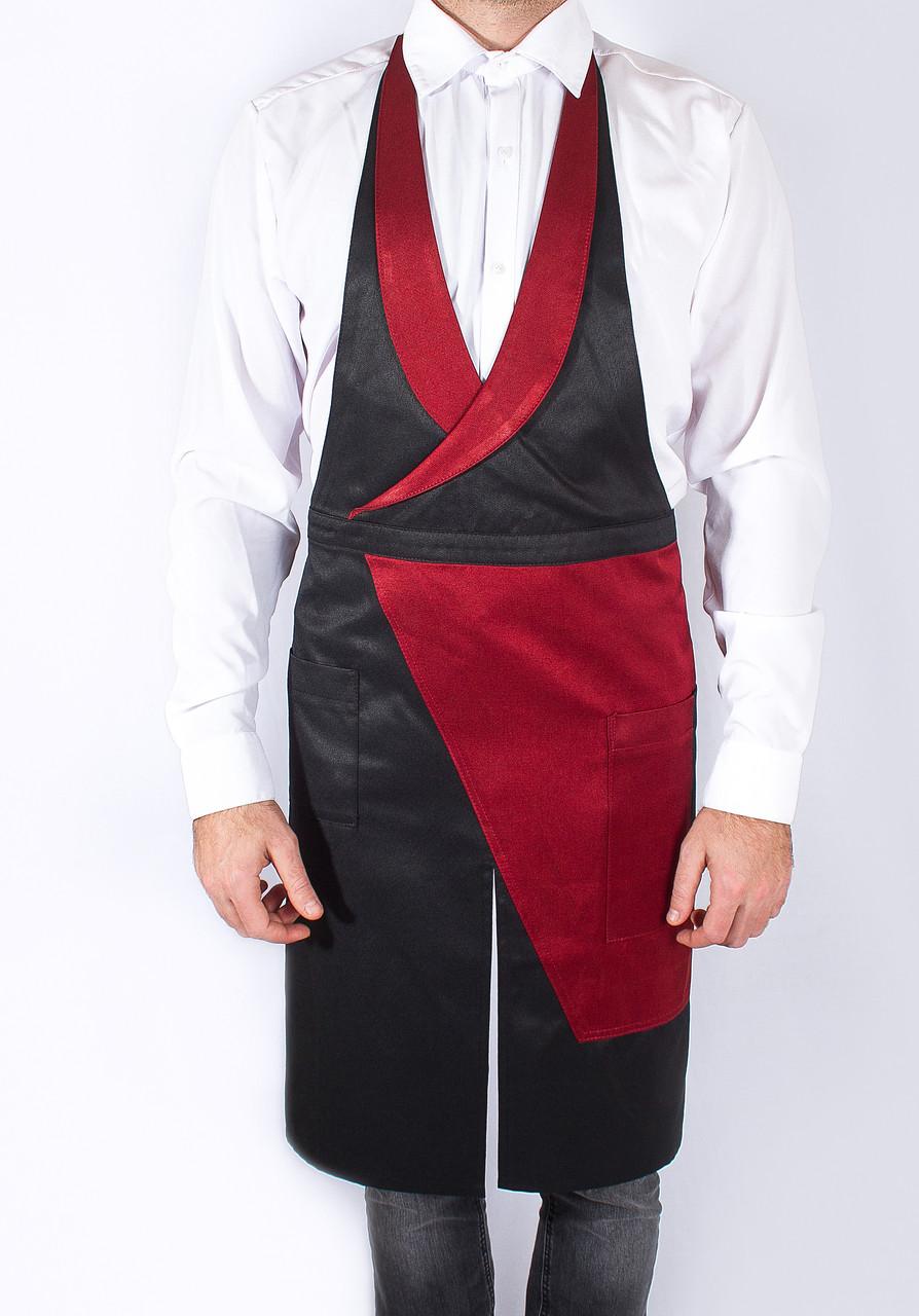Фартук-жилет красно-черный для официанта