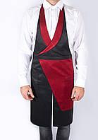 Дизайнерский фартук - жилет официанта, красно - черный, из  спецткани, индивидуальный пошив, все размеры