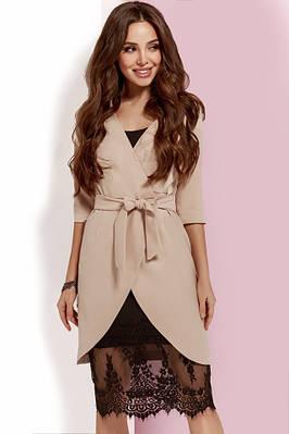 0dc793e7c62 Бежевое платье-двойка с кружевом  Цена