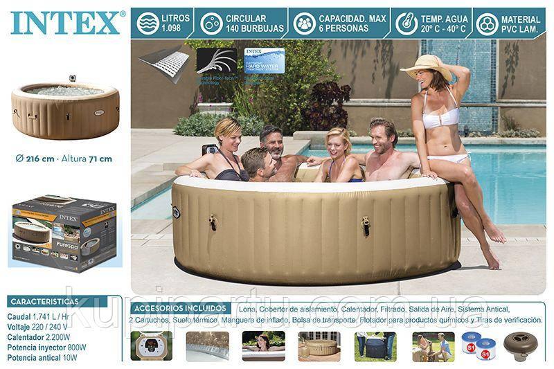 Надувной бассейн джакузи PureSpa Bubble Massage (216 х 71 см) Intex 28408
