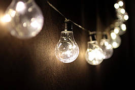 Декоративная LED гирлянда Лампочки на батарейках 10 лампочек декор